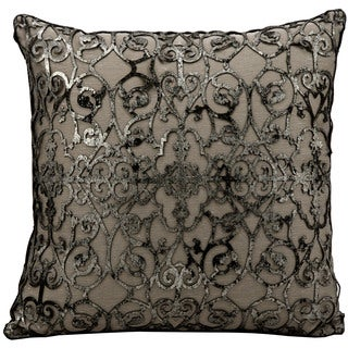 Mina Victory Natural Hide Saray Laser Cut Black/ Platinum 16 x 16-inch Throw Pillow by Nourison