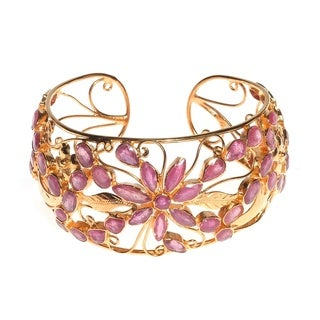 One of a Kind Floral Blossom Genuine Ruby Gold Vermeil Cuff (Thailand)