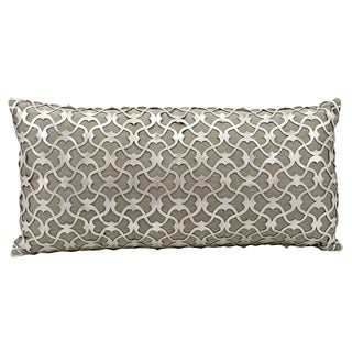 Mina Victory Natural Hide Romantic Laser Cut Silver/ White 12 x 24-inch Throw Pillow by Nourison