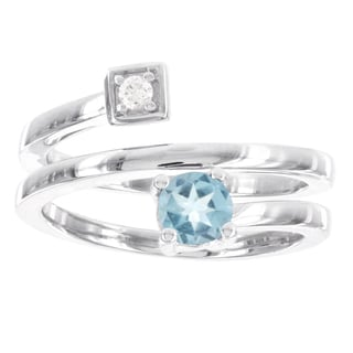 H Star Sterling Silver Blue Topaz and Diamond Accent Swirl Ring (I-J, I2-I3)