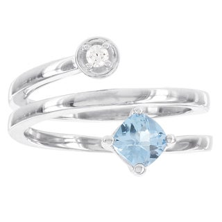 H Star Sterling Silver Cushion Cut Blue Topaz and Diamond Accent Swirl Ring (I-J, I2-I3)