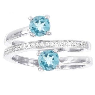 H Star Sterling Silver Blue Topaz and 1/10ct Diamond Swirl Ring (H-I, I2-I3)