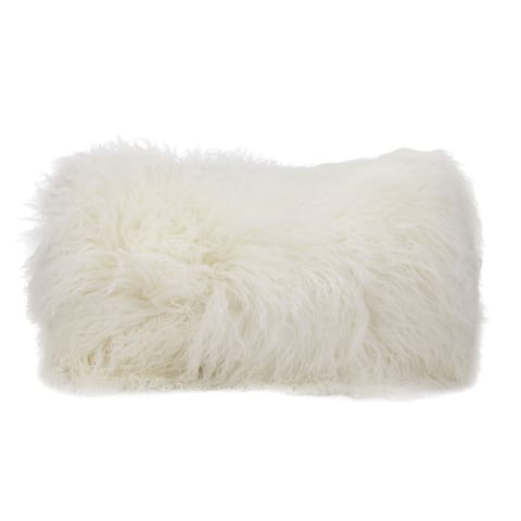 Mina Victory Fur White Throw Pillow (14-inch x 20-inch) by Nourison
