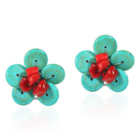 Handmade Chic Red Coral and Turquoise Daisy Floral Clip On Earrings (Thailand)