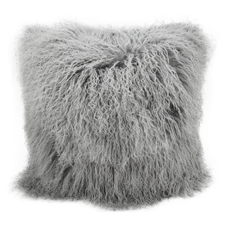 Mina Victory Fur Silver/Grey Throw Pillow (16-inch x 16-inch) by Nourison