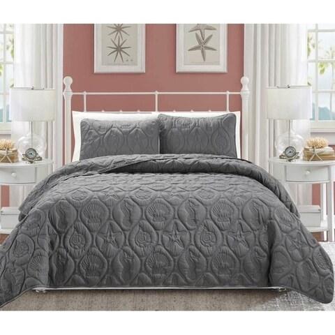 EverRouge Oversized Coral 3-piece Bedspread Set