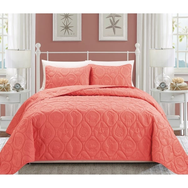 Shop EverRouge Oversized Coral 3-piece Bedspread Set - Free Shipping ...