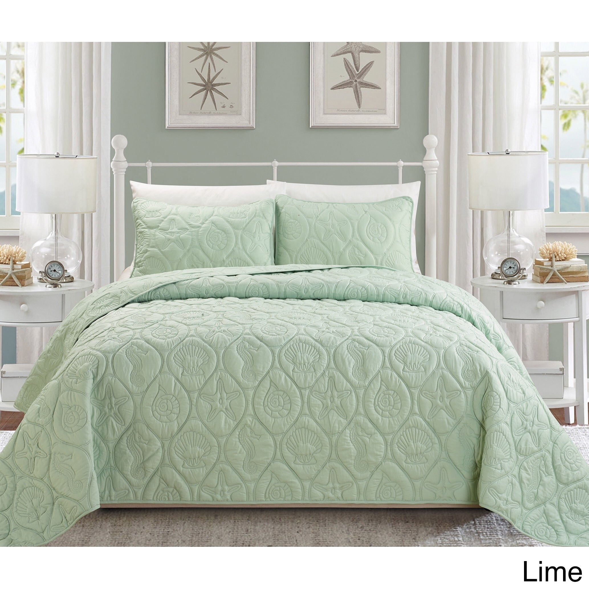 EverRouge Oversized Coral 3-piece Bedspread Set (Lime - Q...