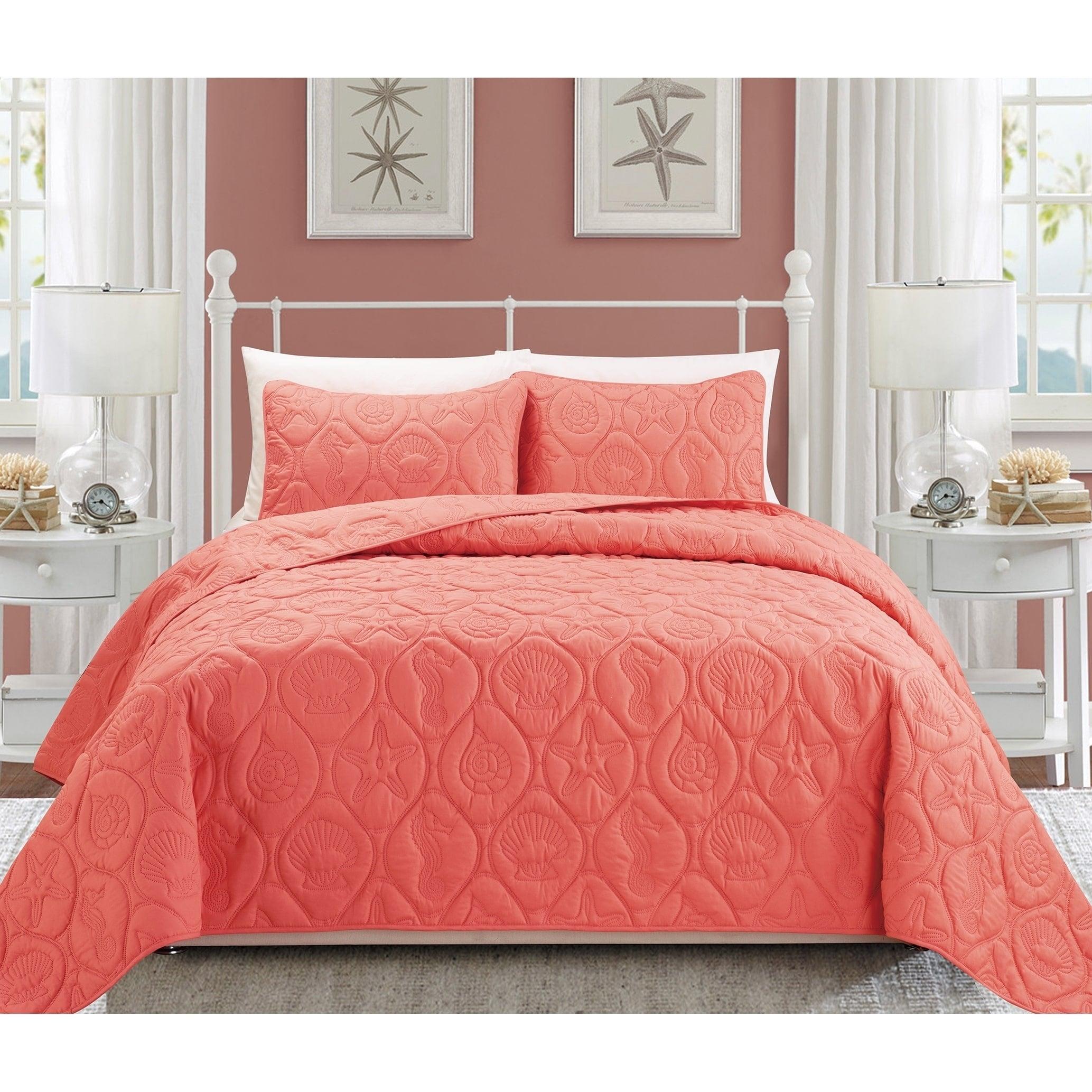 EverRouge Oversized Coral (Pink) 3-piece King Size Bedspr...