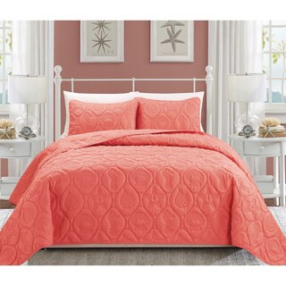 EverRouge Oversized Coral 3-piece Bedspread Set