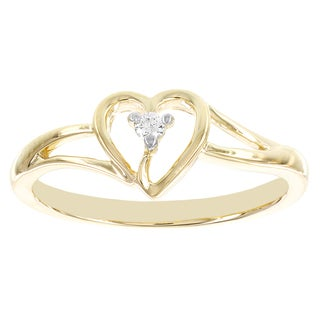 H Star 10k Yellow Heart Shaped Diamond Accent Promise Ring (I-J, I2-I3)