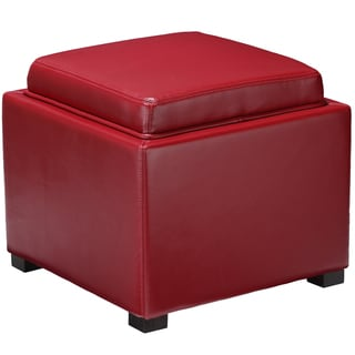 Mavi Red Bonded Leather Storage Tray Ottoman