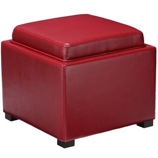 Mavi Red Bonded Leather Storage Tray Ottoman