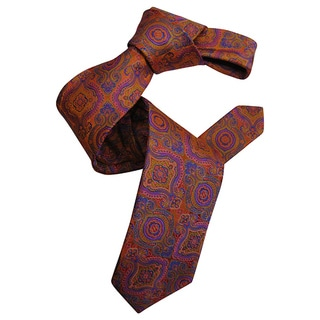 Dmitry Men's Orange Italian Patterned Silk Tie
