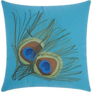Mina Victory Indoor/Outdoor Peacock Feathers Turquoise Throw Pillow (18-inch x 18-inch) by Nourison