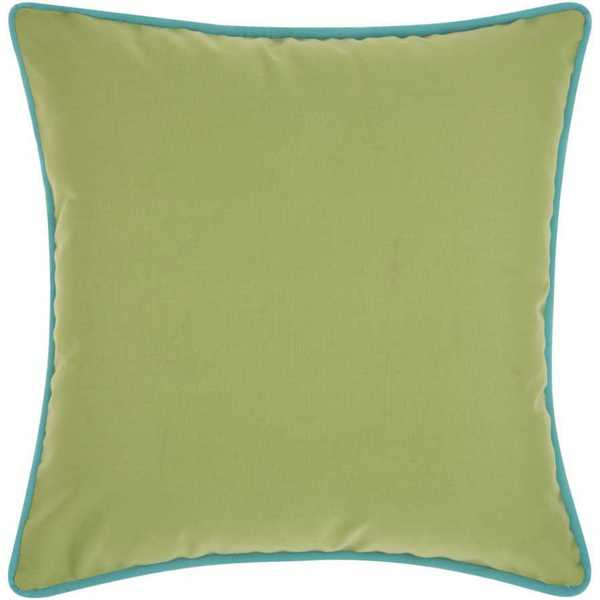 Mina Victory Indoor/Outdoor Three Color Solid and Cord Green/Coral Throw Pillow (20-inch x 20-inch) by Nourison
