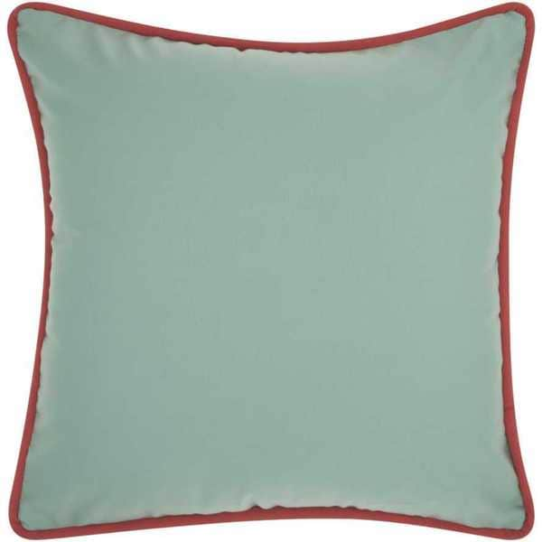 Mina Victory Indoor/Outdoor Three Color Solid and Cord Aqua/Turquoise Throw Pillowby Nourison (20-Inch X 20-Inch)