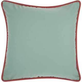 Mina Victory Indoor/Outdoor Three Color Solid and Cord Aqua/Turquoise Throw Pillow (20-inch x 20-inch) by Nourison