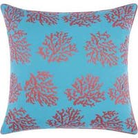 Mina Victory Indoor/Outdoor Corals Turquoise/Coral Throw Pillowby Nourison (18-Inch X 18-Inch)