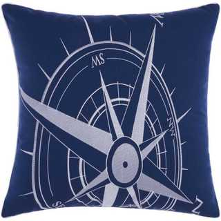 Mina Victory Indoor/Outdoor Compass Navy/White Throw Pillowby Nourison (20-Inch X 20-Inch)
