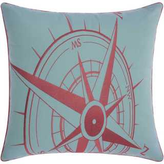 Mina Victory Indoor/Outdoor Compass Aqua/Coral Throw Pillowby Nourison (20-Inch X 20-Inch)