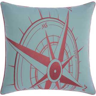 Mina Victory Indoor/Outdoor Compass Aqua/Coral Throw Pillow (20-inch x 20-inch) by Nourison