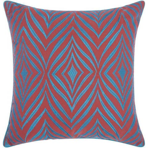 Mina Victory Indoor/Outdoor Wild Chevron Coral/Turquoise Throw Pillowby Nourison (18-Inch X 18-Inch)