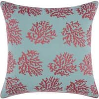 Mina Victory Indoor/Outdoor Corals Aqua/Coral Throw Pillowby Nourison (18-Inch X 18-Inch)