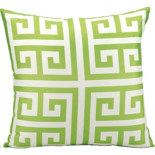 Mina Victory Indoor/Outdoor Greek Key Apple Green Throw Pillowby Nourison (20-Inch X 20-Inch)