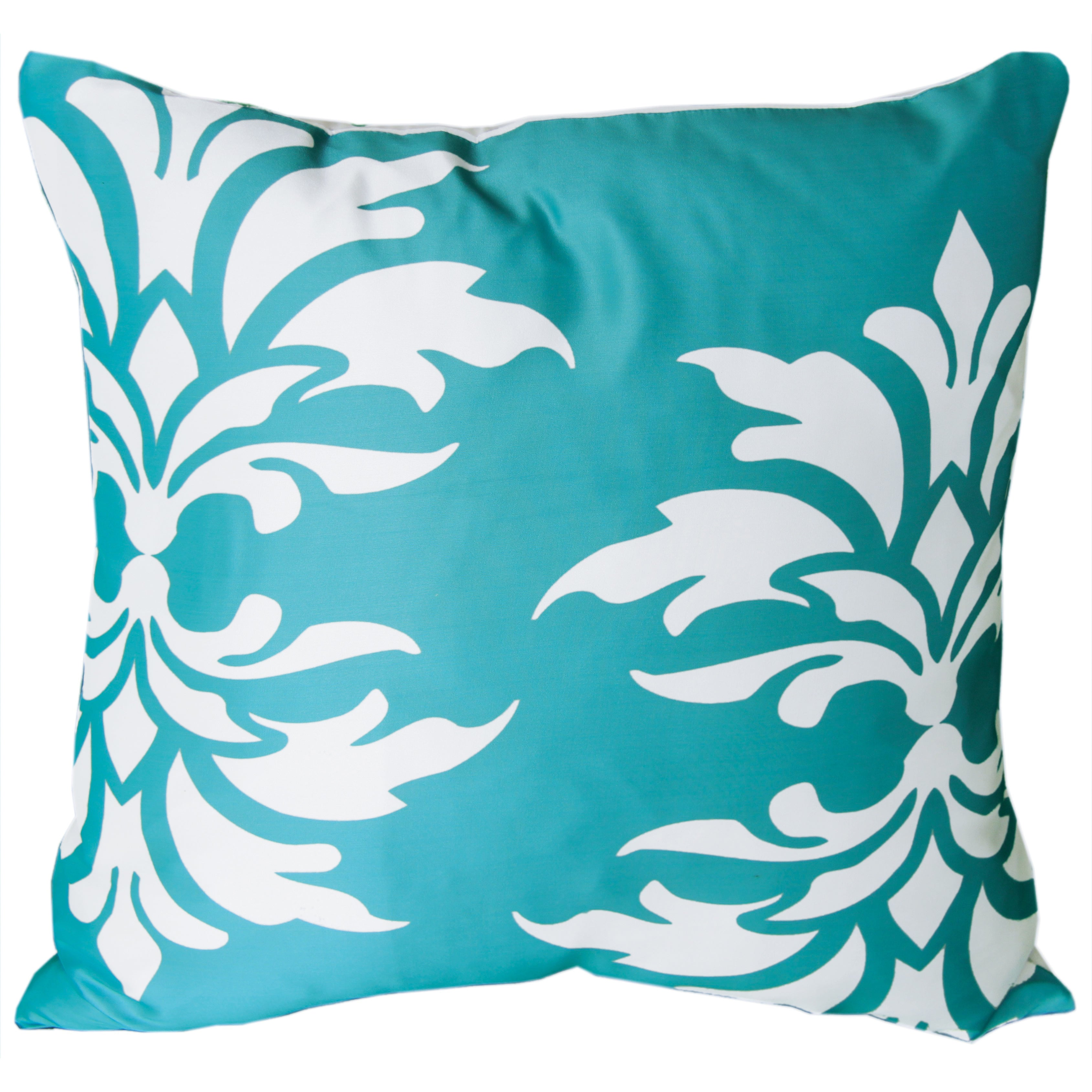 Mina Victory Indoor/Outdoor Damask Turquoise Throw Pillowby Nourison (20-Inch X 20-Inch) (20 x 20)