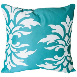 Mina Victory Indoor/Outdoor Damask Turquoise Throw Pillowby Nourison (20-Inch X 20-Inch)