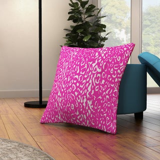 Mina Victory Indoor/Outdoor Leopard Hot Pink Throw Pillow (20-inch x 20-inch) by Nourison