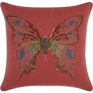 Mina Victory Indoor/Outdoor Beaded Butterfly Coral Throw Pillow (18-inch x 18-inch) by Nourison