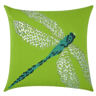 Mina Victory Indoor/Outdoor Beaded Dragonfly Green/Turquoise Throw Pillowby Nourison (18-Inch X 18-Inch)
