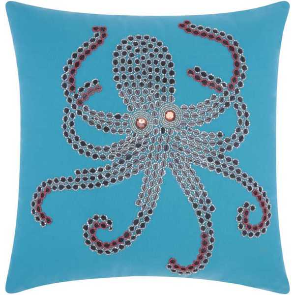 Mina Victory Indoor/Outdoor Beaded Octopus Turquoise/Coral Throw Pillowby Nourison (18-Inch X 18-Inch)