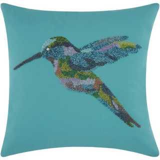 Mina Victory Indoor/Outdoor Beaded Hummingbird Turquoise Throw Pillow (18-inch x 18-inch) by Nourison