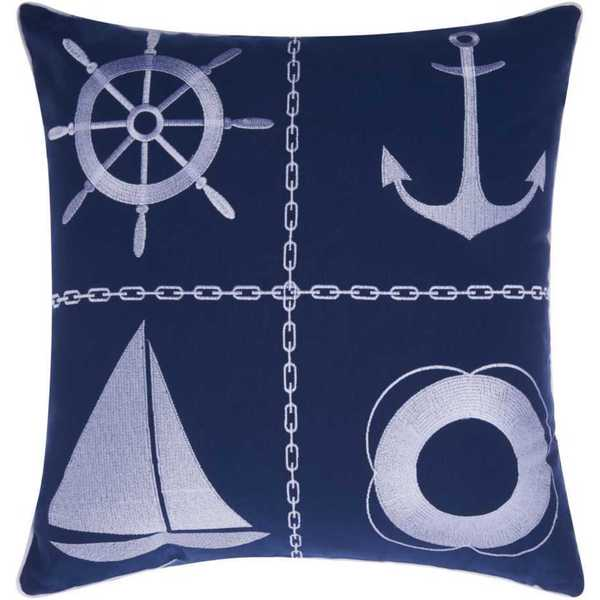 Mina Victory Indoor/Outdoor Nautical Grid Navy/White Throw Pillowby Nourison (18-Inch X 18-Inch)