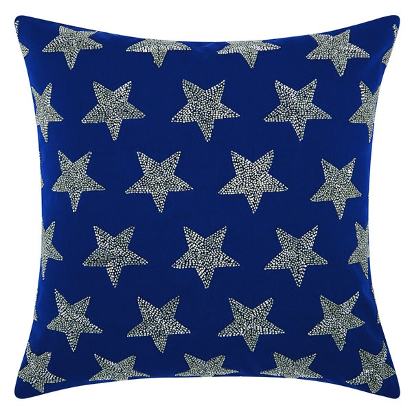 Mina Victory Indoor/Outdoor Beaded Stars Navy/Silver Throw Pillowby Nourison (20-Inch X 20-Inch)