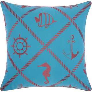 Mina Victory Indoor/Outdoor Nautical Diamonds Turquoise/Coral Throw Pillowby Nourison (20-Inch X 20-Inch)