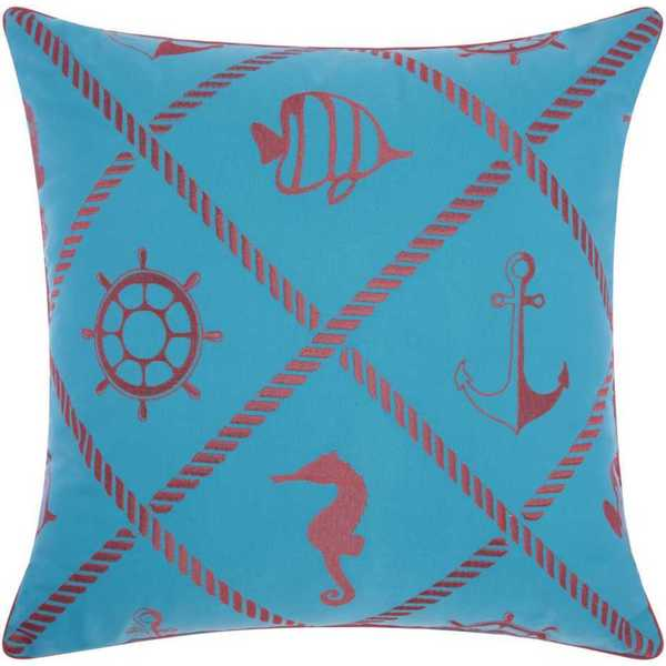 Mina Victory Indoor/Outdoor Nautical Diamonds Turquoise/Coral Throw Pillow (20-inch x 20-inch) by Nourison