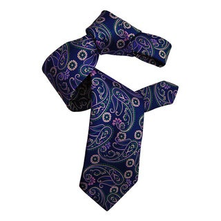 Dmitry Men's Purple Italian Patterned Silk Tie