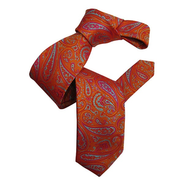 Dmitry Mens Orange Italian Paisley Patterned Silk Tie