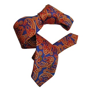 Dmitry Men's Blue/ Red Italian Paisley Patterned Silk Tie
