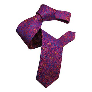 Dmitry Men's Purple Italian Floral Patterned Silk Tie
