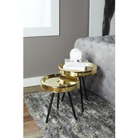 Set of Two Gold Nesting Tables