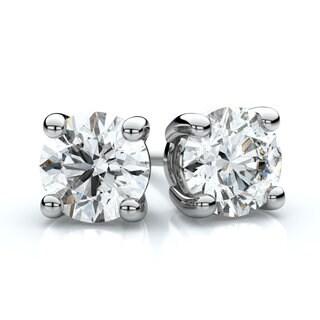Platinum 3/4ct TDW 4-prong Round Diamond Stud Earrings (F-G, VS1-VS2)