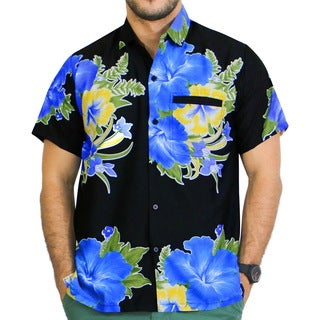 La Leela Likre Shoe Floral Camp Button Down Casual Camp Pocket Shirt Men Blue