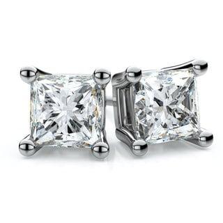 Platinum 1ct TDW 4-prong Princess Diamond Stud Earrings (H-I, SI1-SI2)
