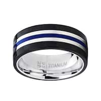 Oliveti Titanium Blue and Black Comfort Fit Wedding Band