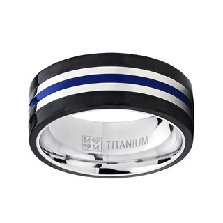 Oliveti Titanium Blue and Black Comfort Fit Wedding Band (More options available)